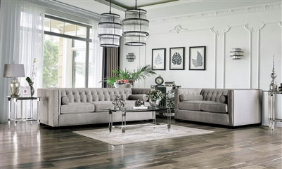 Elliot 2 Piece Sofa Set in Light Gray by Furniture of America - FOA-SM9115
