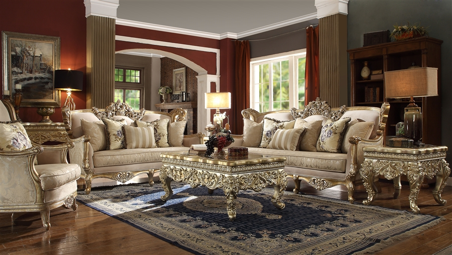 Victorian Antique Gold Wood Trim 2 Piece Living Room Set By Homey Design Hd 04