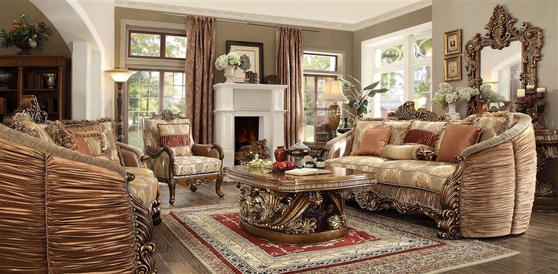 . Lavish Old World 2 Piece Living Room Set by Homey Design   HD 1601