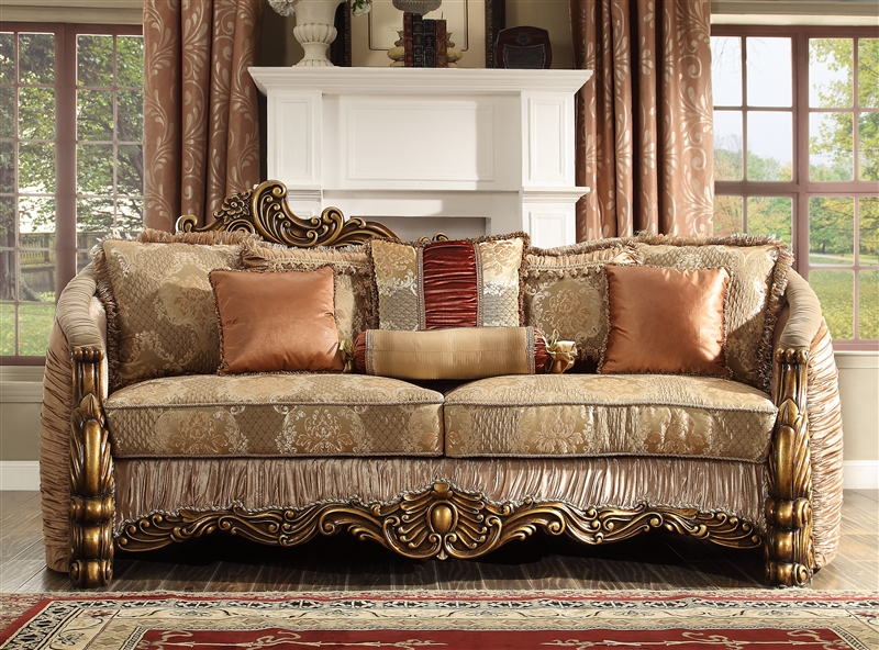 lavish old world 2 piece living room set by homey design hd 1601 rh homecinemacenter com old world leather sofas old world sofa with chaise lounge