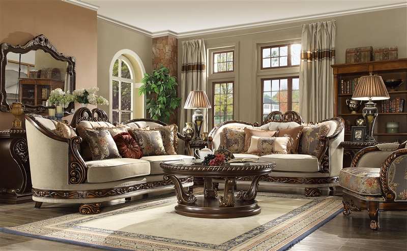 Traditional Upholstery 2 Piece Living Room Set By Homey Design   HD 1623