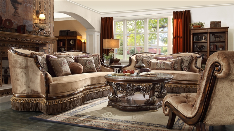 European 2 Piece Living Room Set With Tasseled Skirt Apron By Homey Design Hd 1631