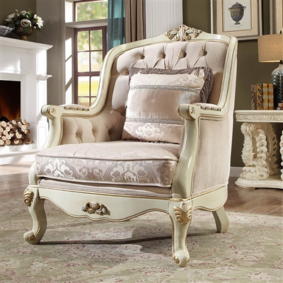 Antique Lavish Carved Upholstery Chair by Homey Design - HD-2011-C