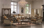 Venice Mixed Fabrics Brown Finish 2 Piece Set by Homey Design - 260