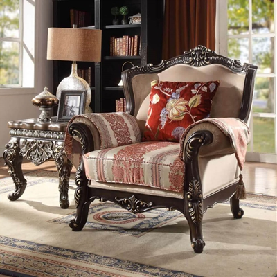 Antique Style Exposed Wood Carved Trim Chair by Homey Design - HD-2638-C