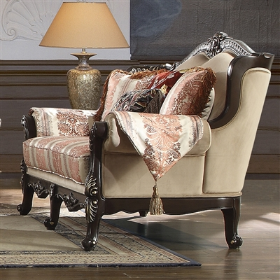 Antique Style Exposed Wood Carved Trim Loveseat by Homey Design - HD-2638-L