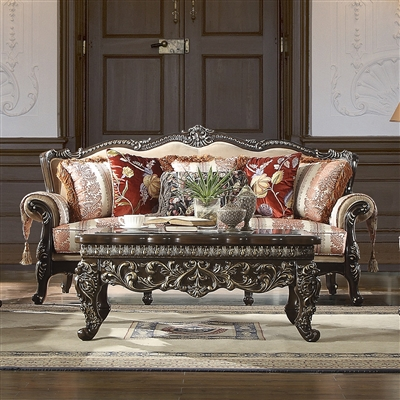 Antique Style Exposed Wood Carved Trim Sofa by Homey Design - HD-2638-S
