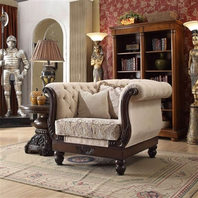 Traditional Style Button Tufted Carved Trim Chair by Homey Design - HD-2651-C