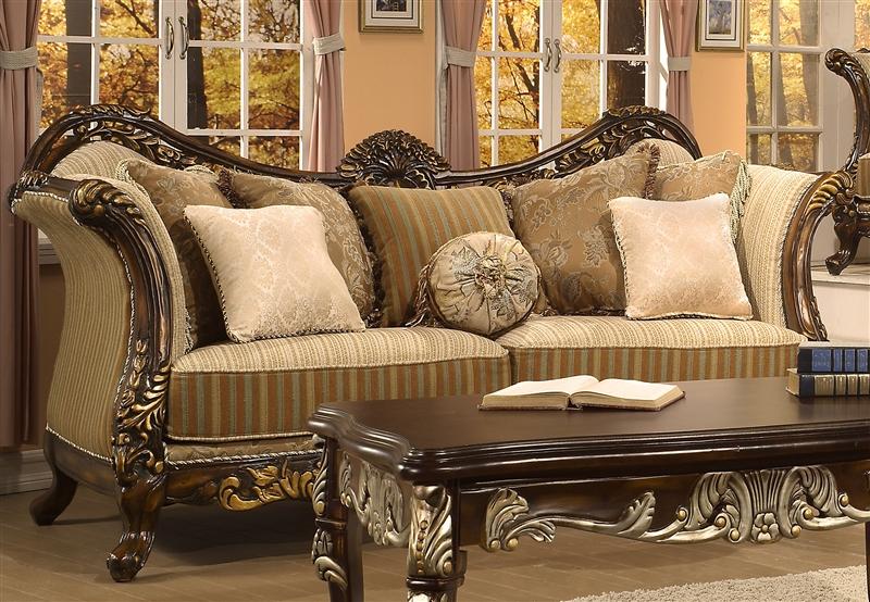 Trento Pattern Chenille Fabric, Gold Paintbrush Finish Sofa by Homey Design  - 266-S