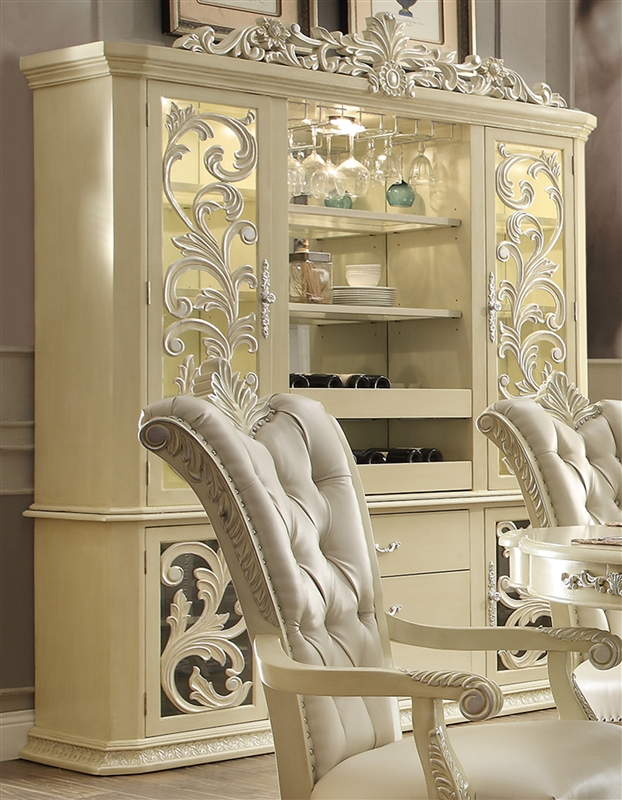 - Antique White Bonded Finish China Cabinet By Homey Design - HD-27-CB