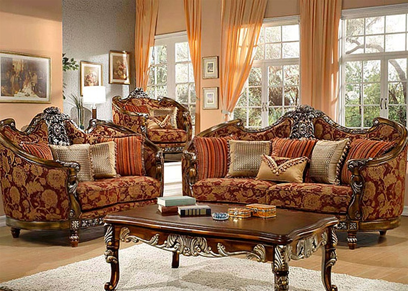 Florence Red and Gold Chenille Loveseat by Homey Design - 270-L