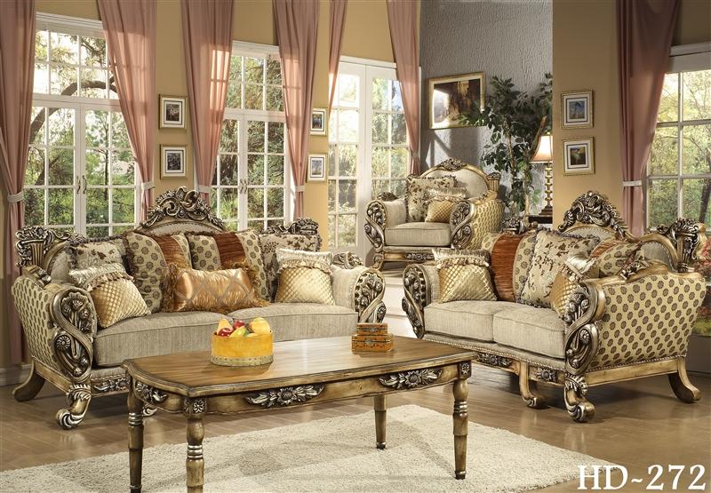 Lu0027Aquila Beige Chenille Fabric, Antiqued Finish Sofa By Homey Design   272 S