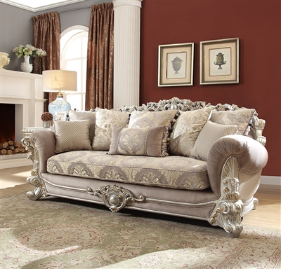 Georgian Traditional Silver Trim Sofa by Homey Design - HD-372-S