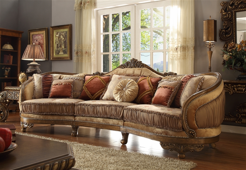 European Wood Trim Mansion Living Room Sectional Sofa By Homey Design Hd 458 Larger Photo