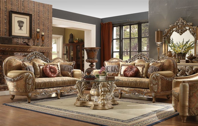 Upholstery 2 Piece Living Room Set in Antique Brown by Homey Design - HD-622