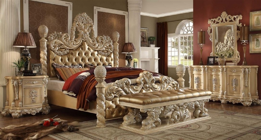 palazzo magnifico 6 piece bedroom set in antique white finish by homey design hd 7266 - Antique Bedroom Sets