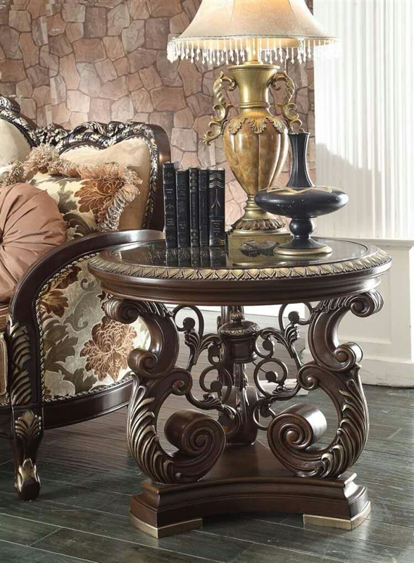 Traditional Dark Cherry Finish 3 Piece Occasional Table Set By Homey Design    HD 8013 OT