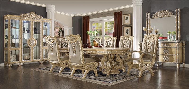 Imperial Handcrafted Ivory Finish 7 Piece Dining Room Set By Homey Design Hd 8015 Dt