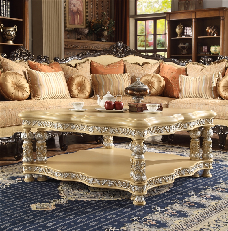 Victorian Ivory Finish 3 Piece Occasional Table Set by Homey Design - HD-8015-OT & Victorian Ivory Finish 3 Piece Occasional Table Set by Homey Design ...
