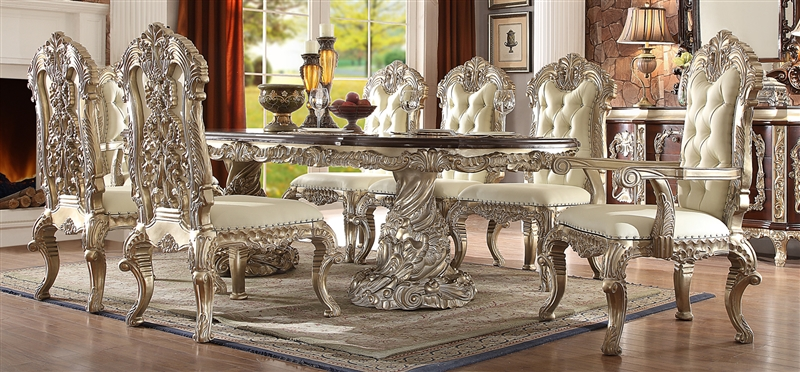 Cleopatra Double Pedestal 7 Piece Rectangle Dining Room Set By Homey