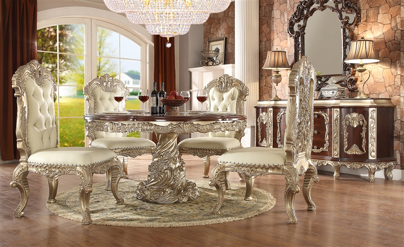 Cleopatra Double Pedestal 7 Piece Round Dining Room Set By