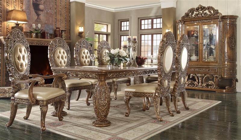 Victorian Dark Brown Dining Room Set By Homey Design HD