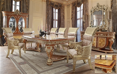 European Carved Bright Gold & Medium Golden Tan Finish 7 Piece Dining Room Set by Homey Design - HD-8024-DT