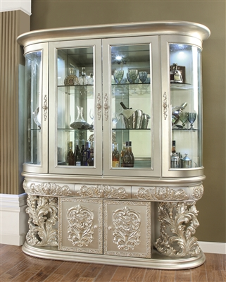 Decorative Carved Metallic Silver Finish China Cabinet by Homey Design - HD-8088-CB
