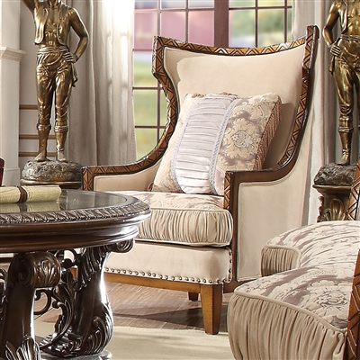 Antique Style Wood Trim Luxury Upholstered Chair by Homey Design - HD-823-C