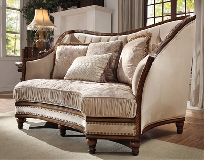 Antique Style Wood Trim Luxury Upholstered Loveseat by Homey Design - HD-823-L