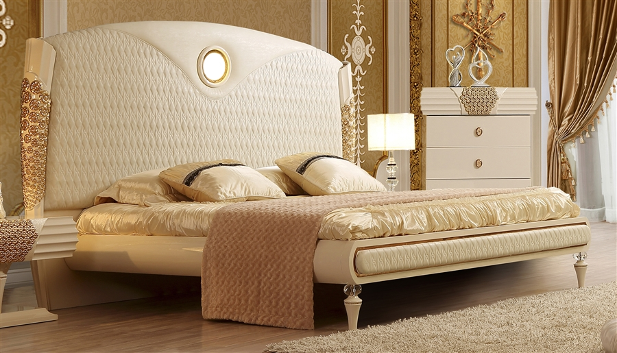 Perfect Luxurious Classic Upholstered Sleigh Headboard 6 Piece Bedroom Set By Homey  Design   HD 901 BEDROOM