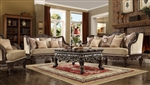 Traditional Luxury 2 Piece Living Room Set in Antique Brown by Homey Design - HD-914