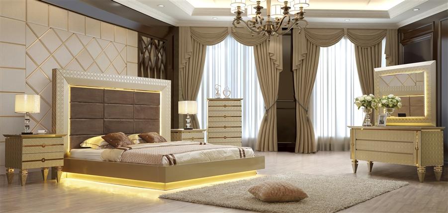 Elegant Contemporary Headboard 6 Piece Bedroom Set by Homey Design -  HD-918-BEDROOM