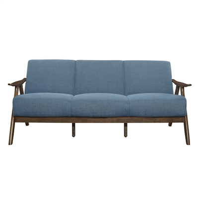 Damala Sofa in Walnut & Blue by Home Elegance - HEL-1138BU-3