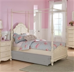 Cinderella Twin Canopy Poster Bed in Ecru by Home Elegance - HEL-1386TPP-1