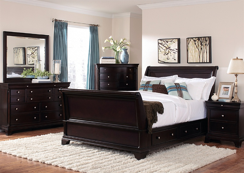 Inglewood Sleigh Platform Storage Bed 6 Piece Bedroom Set In Deep Cherry Finish By Homelegance