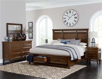 Frazier Park 6 Piece Bedroom Set in Brown Cherry by Home Elegance - HEL-1649-1-4