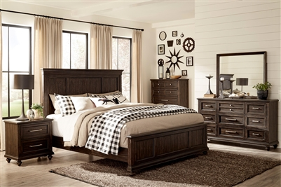Cardano 6 Piece Bedroom Set in Charcoal by Home Elegance - HEL-1689-1-4
