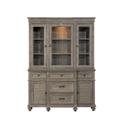 Cardano Buffet & Hutch in Driftwood Light Brown by Home Elegance - HEL-1689BR-50