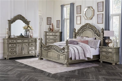 Catalonia 6 Piece Bedroom Set in Platinum Gold by Home Elegance - HEL-1824PG-1-4