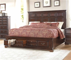 Cranfills Queen Platform Bed with Footboard Storages in Cherry by Home Elegance - HEL-1832-1