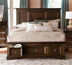 Eunice Queen Platform Bed with Footboard Storages in Espresso by Home Elegance - HEL-1844DC-1