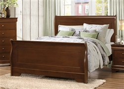 Abbeville Queen Sleigh Bed in Brown Cherry by Home Elegance - HEL-1856-1