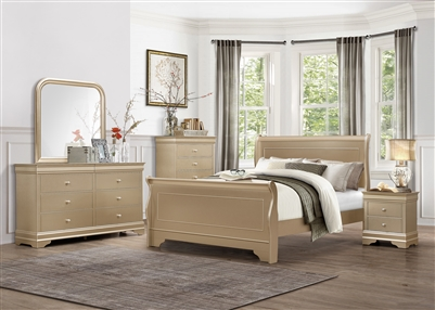 Abbeville 6 Piece Bedroom Set in Gold by Home Elegance - HEL-1856NG-1-4