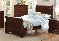 Abbeville Twin Sleigh Bed in Brown Cherry by Home Elegance - HEL-1856T-1