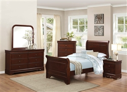 Abbeville 4 Piece Youth Bedroom Set in Brown Cherry by Home Elegance - HEL-1856T-1-4