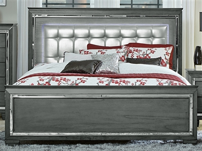 Allura Queen Bed in Gray by Home Elegance - HEL-1916GY-1