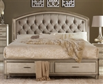 Tandie Queen Platform Bed Footboard with Storage in Champagne by Home Elegance - HEL-1933-1