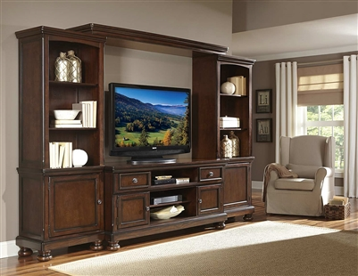 "Cumberland 4 Piece 62"" TV Stand Set in Medium Brown by Home Elegance - HEL-21590-T62"
