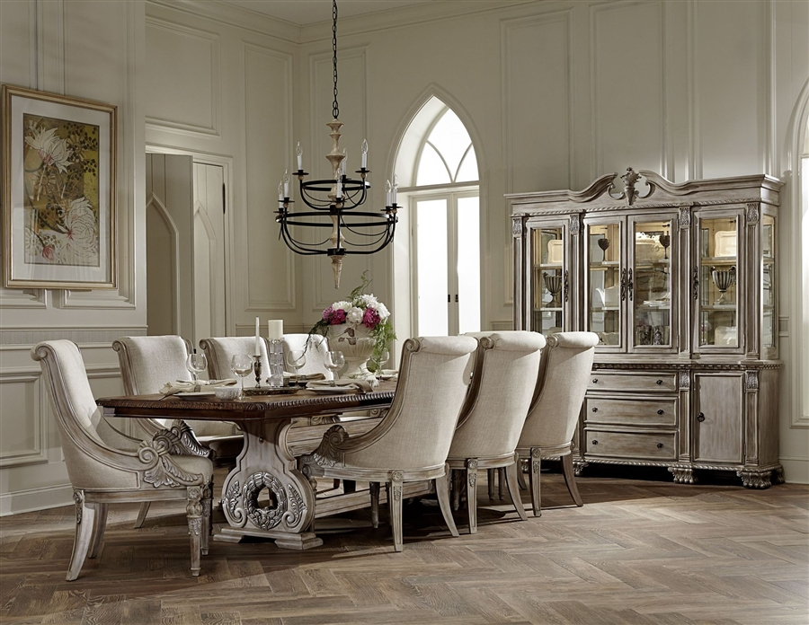 Orleans Ii 7 Piece Dining Set In White Wash Weathered Brown By Home Elegance Hel 2168ww 118 7